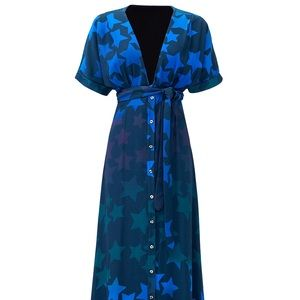 Mara Hoffman Navy Star Blast Tie Front Dress